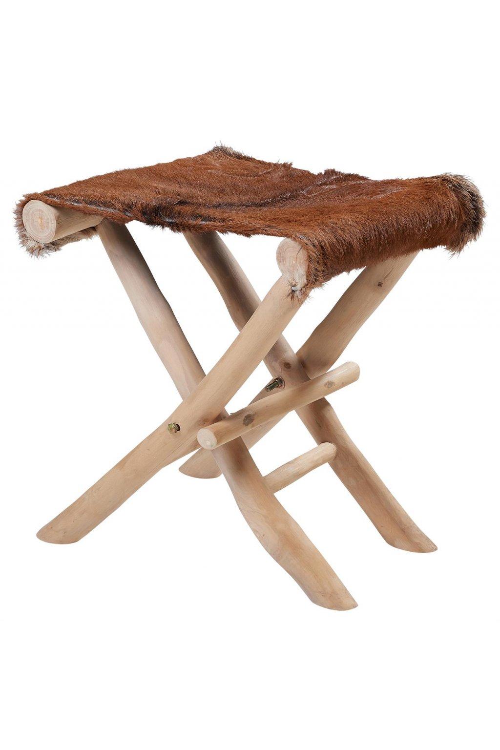 Skládací stolička s dřevěnými nožkami