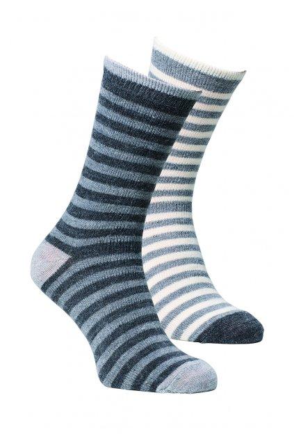 Ponožky z alpaky dětské  proužkované -duopack