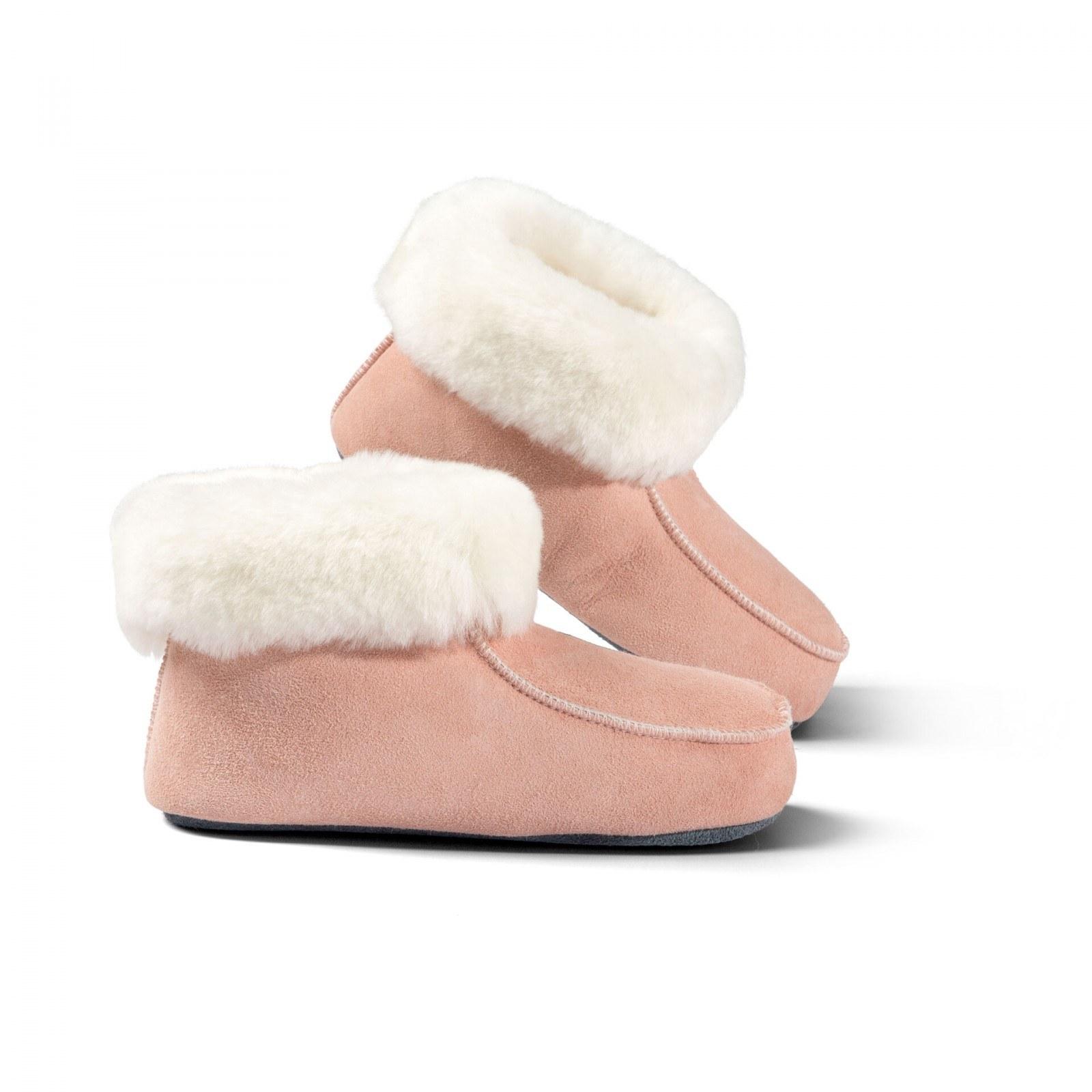 Domácí obuv s koženou podrážkou Zvolte variantu: Růžová, Velikost: 36
