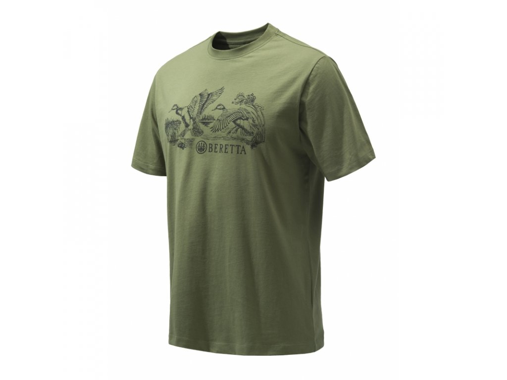 Beretta ducks tričko, zelené (Velikost XL)