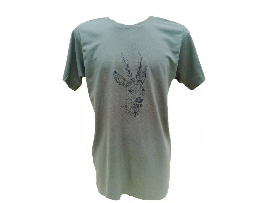 Tričko srnec - pánské, zelené