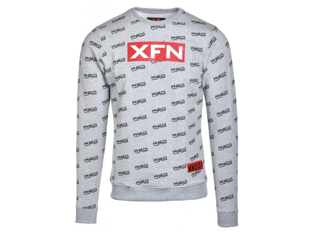sweatshirt xfn fighters clubdouble red full logo grey