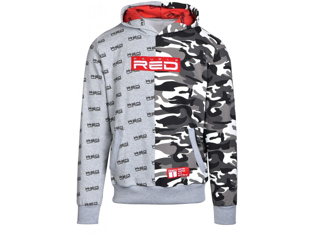 hoodie double face greybw camo