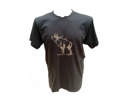 Shooterking - Jelen tričko pánské, hnědé (Velikost XL)