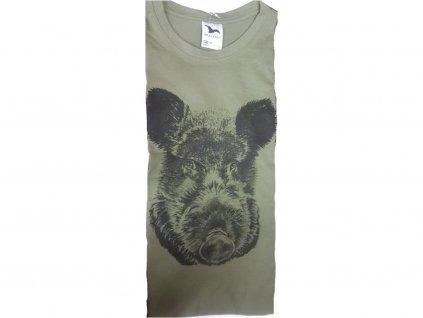 Tričko zelené s potiskem - divočák, Mázi - Hunt (Velikost XL)