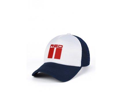 double red 3d bluewhite trucker cap
