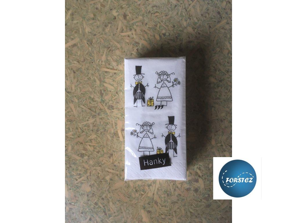 Svatební  papírové kapesníčky 10 ks. - JUST MERRIED