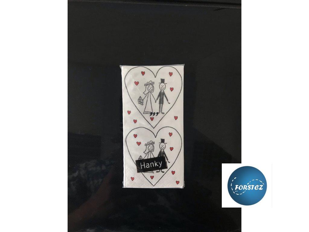 Svatební papírové kapesníčky 10 ks. - MARRIAGE