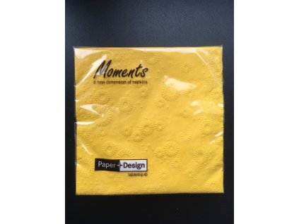 Ubrousky MOMENTS UNI YELLOW - 16ks 33x33 cm