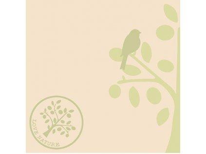 Airlaid ubrousky LOVE NATURE-BAUM - Olive/Nature brown/Beige-grey/Pebble stone - 50 ks 40x40 cm