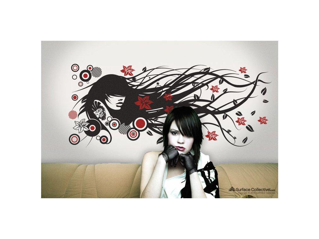 samolepka na zed divka s dlouhymi vlasy