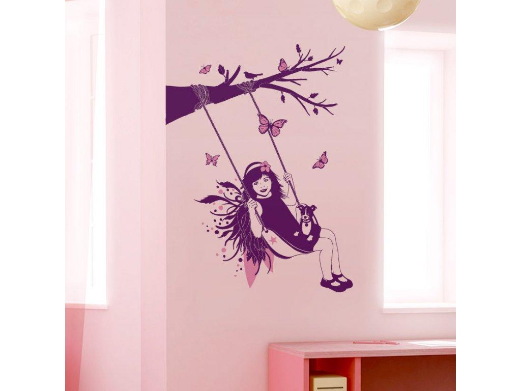 samolepka na zed do detskeho pokoje pro holcicky holcicka s pejskem na houpacce 040 045