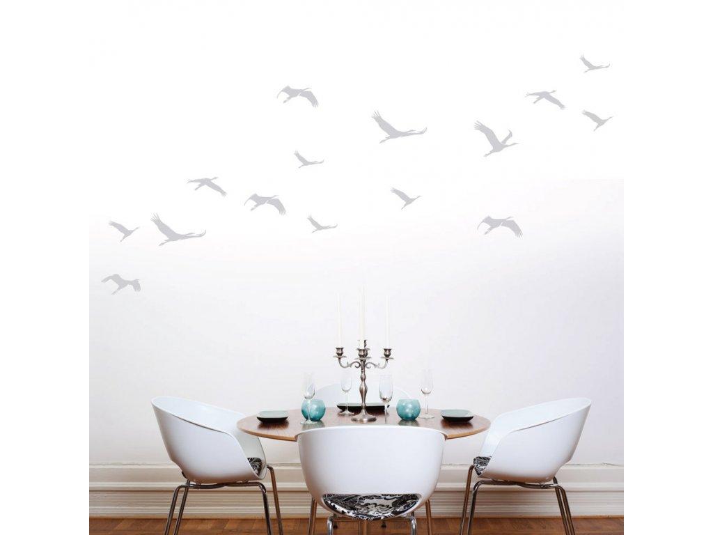 nalepky na stenu stehovavi ptaci v letu na zdi 072
