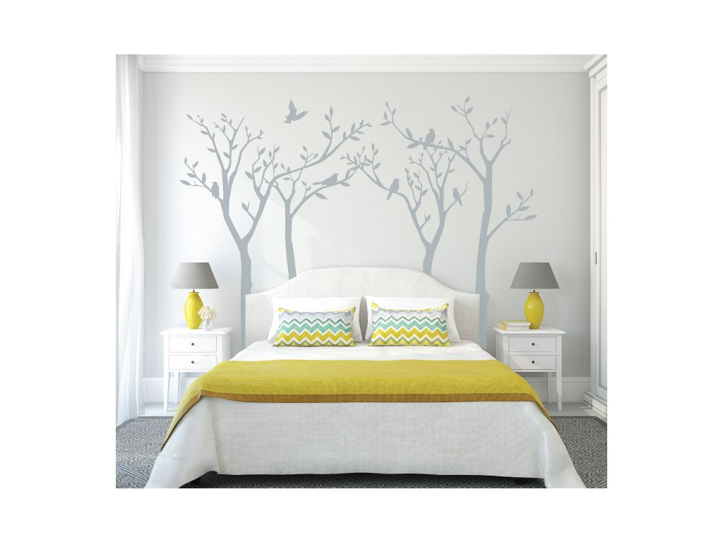 dekorace na zed ptacci na stromech samolepici dekorace na stenu velka