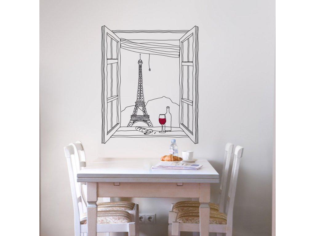samolepka na zed vyhled na paris eiffelovka na stene v kuchyni