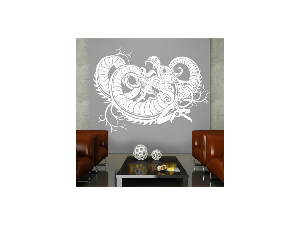 samolepka na zed dekorace dragon na zdi nahled