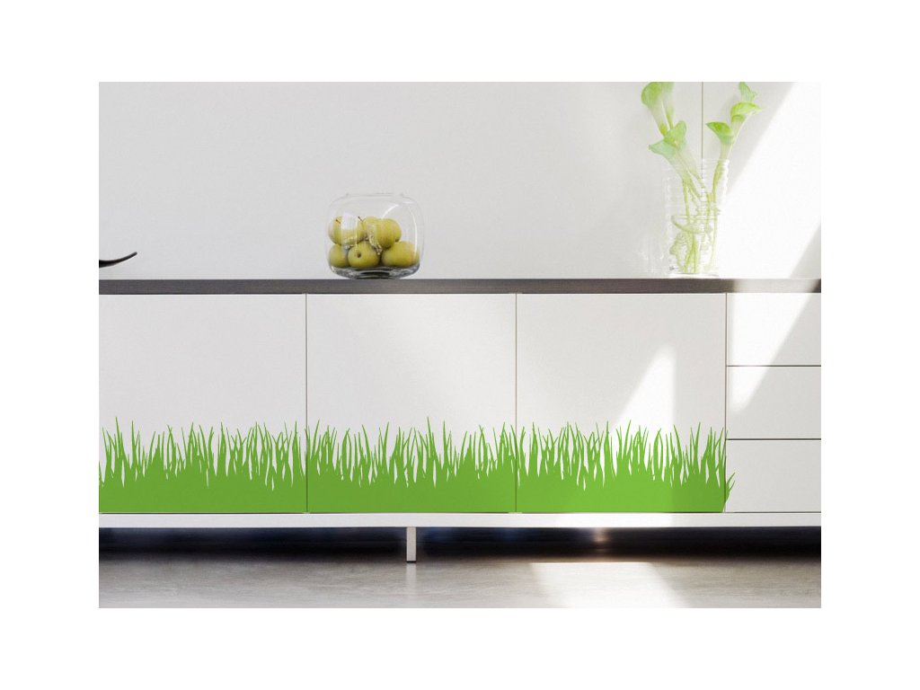 nekonecna trava samolepky nalepene na skrinkach
