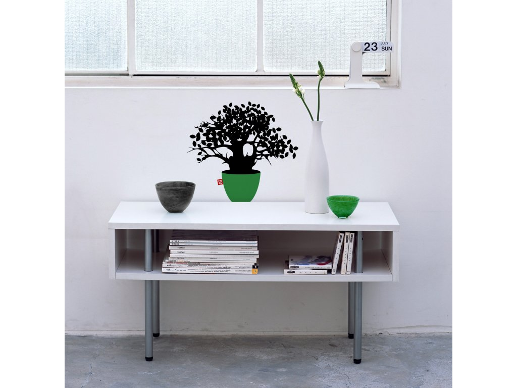 samolepka bonsai nalepena nad stolkem na bile zdi