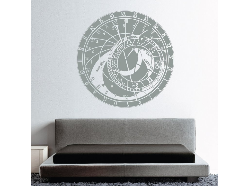 dekorace na zed prazsky orloj nalepeny nad posteli