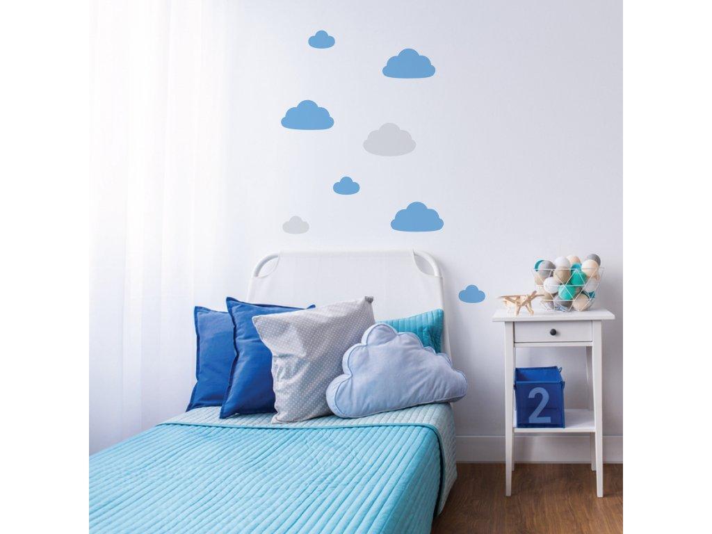 samolepky mracku do detskeho pokoje modre nad posteli