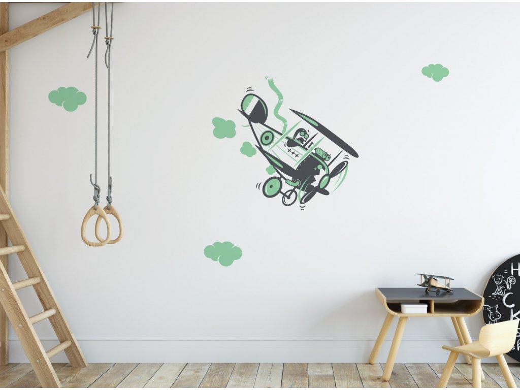 187 serie sky wars stare letadlo na zdi v detskem pokoji