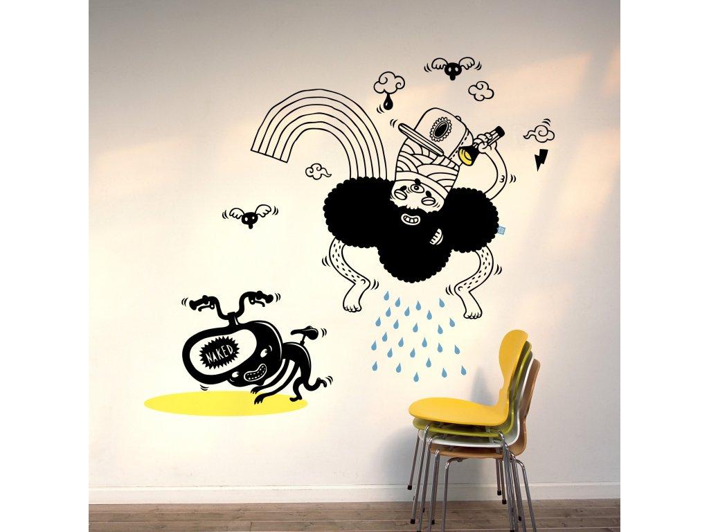 samolepka inda rain nalepena na bile zdi zluta zidle