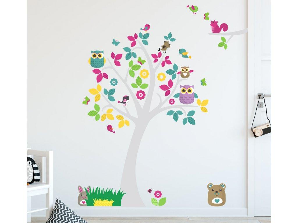 samolepka na zed strom sovy a zviratka do detskeho pokoje vetsi