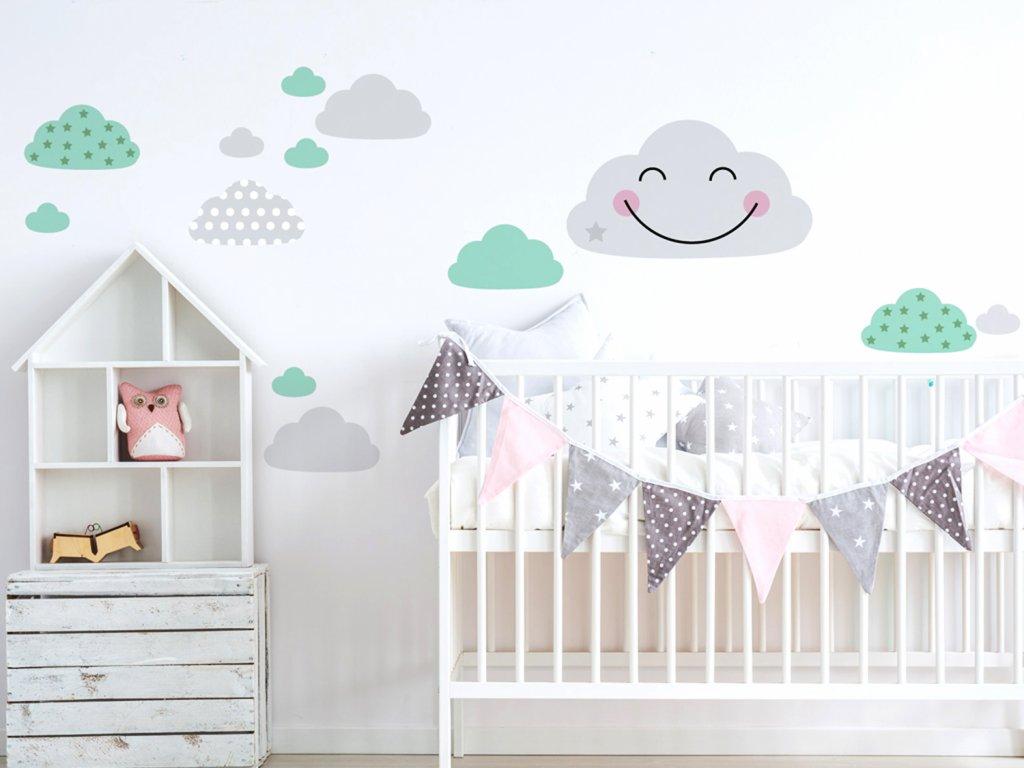 samolepky mracku na zed do detskeho pokoje nad postylku s usmevavym mrackem