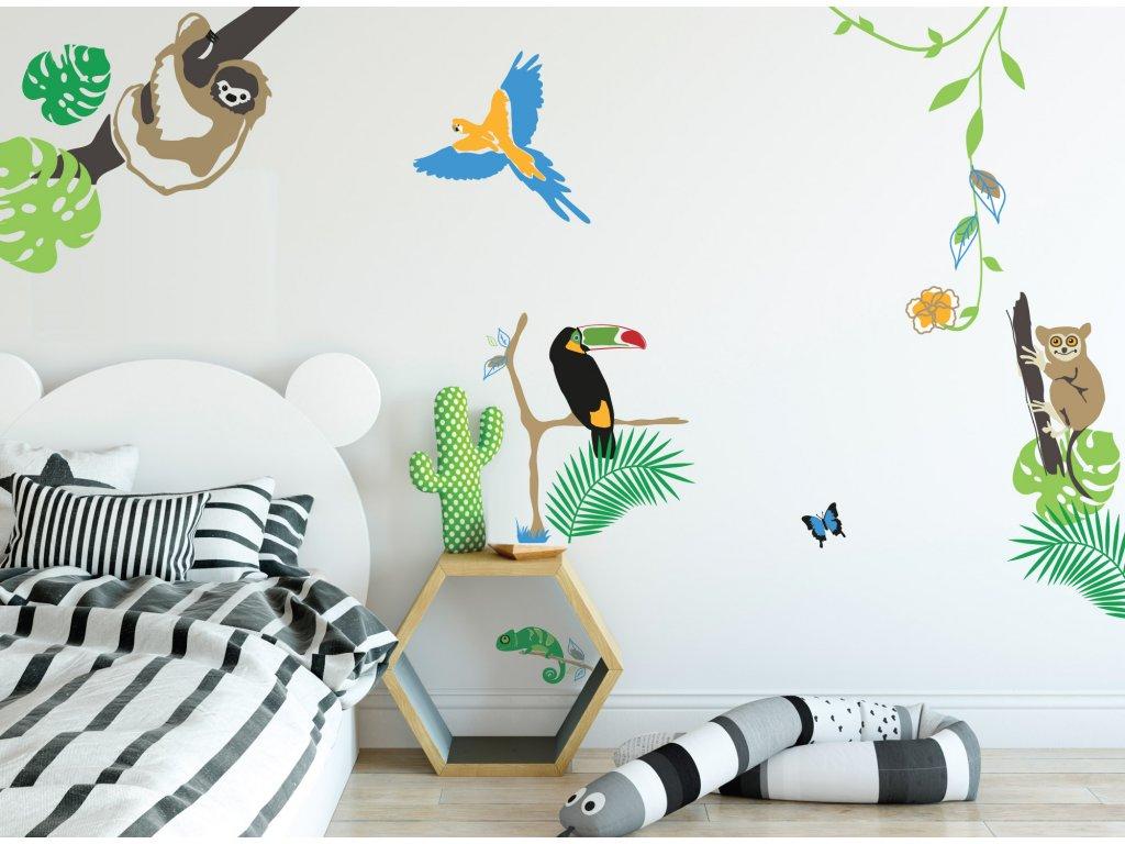 samolepka na zed dzungle zvirata barevna na stenu