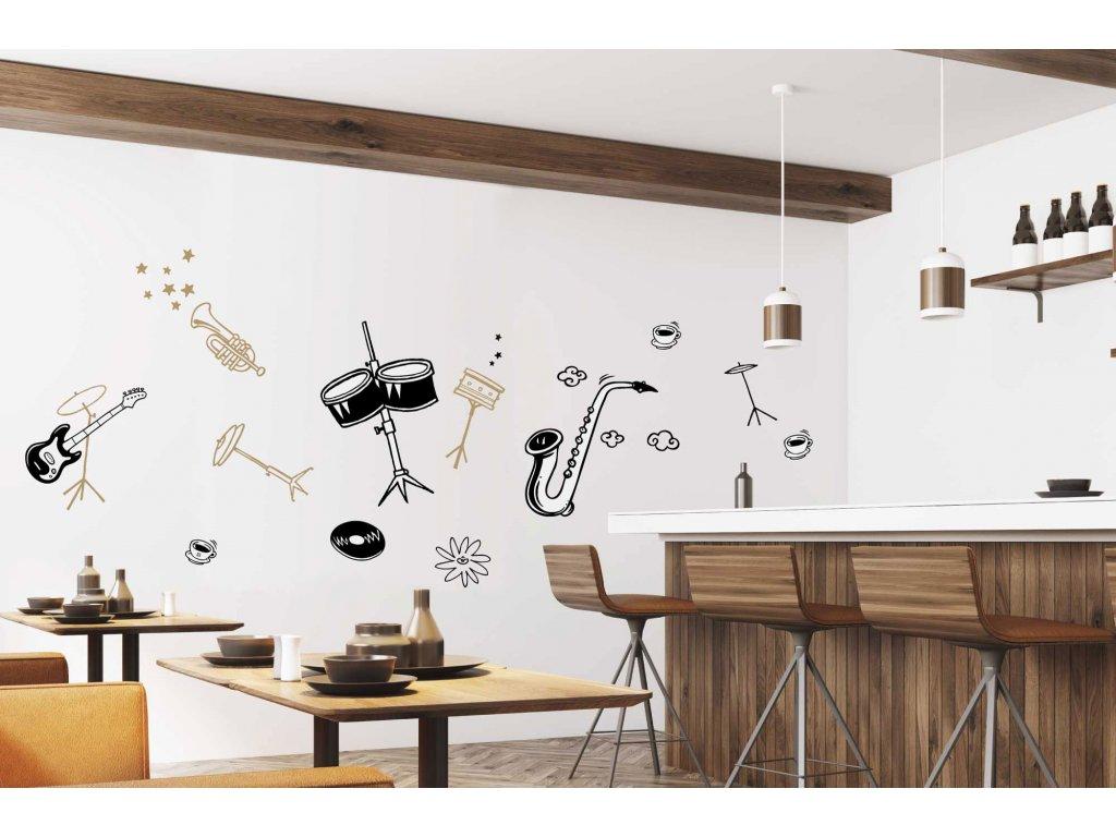 samolepky na zed fugu hudebni nastroje jazz na stene v kavarne restauraci baru 2