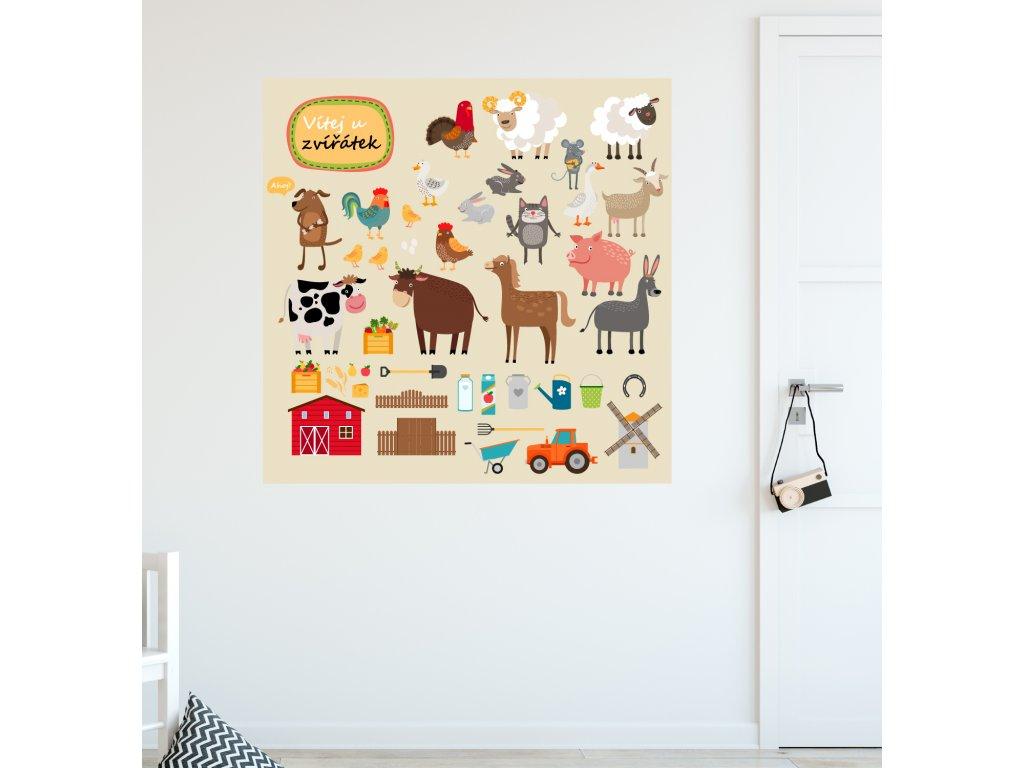 samolepka na zed eko farma plakat nalepene na zdi v detskem pokoji