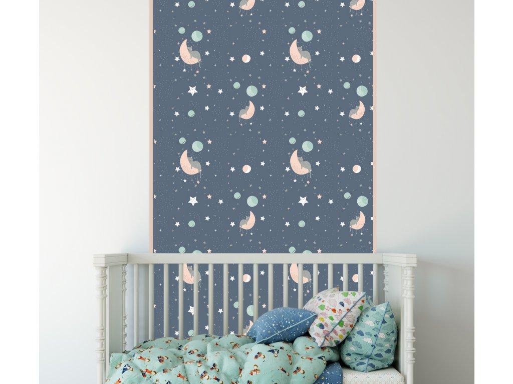 samolepici eko pruh phototex na zed spici kocicky nalepene v interieru detskeho pokoje phototex detail