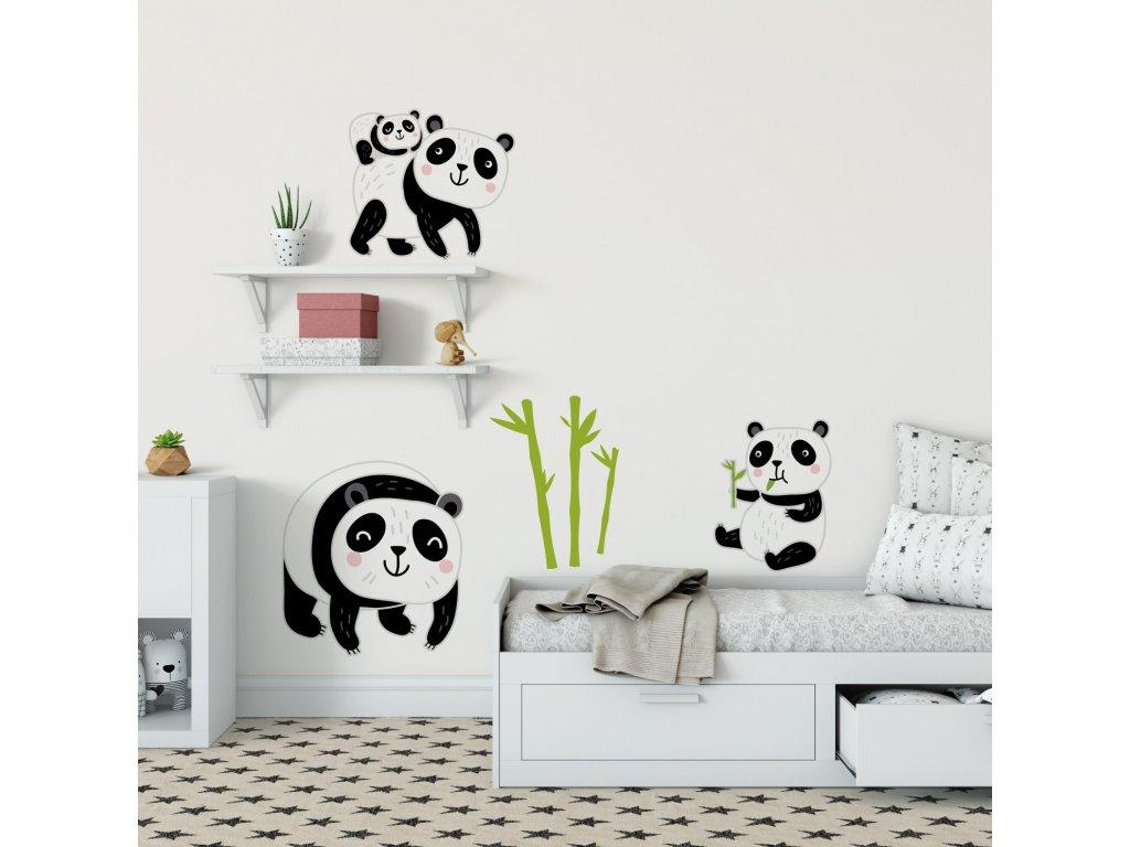 pandici rodinka ekologicke samolepky na zed prelepovaci pandy na stene v interieru detskeho pokoje