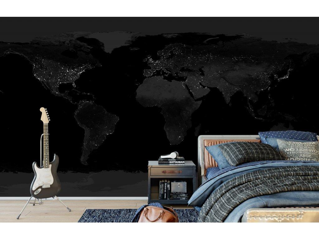 samolepici tapeta svetla mest nocni mapa sveta