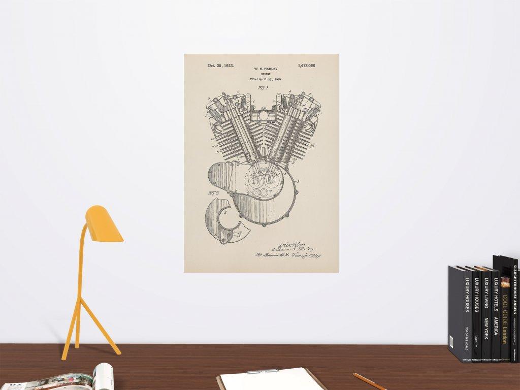 samolepici plakat na zed patent motor harley davidson