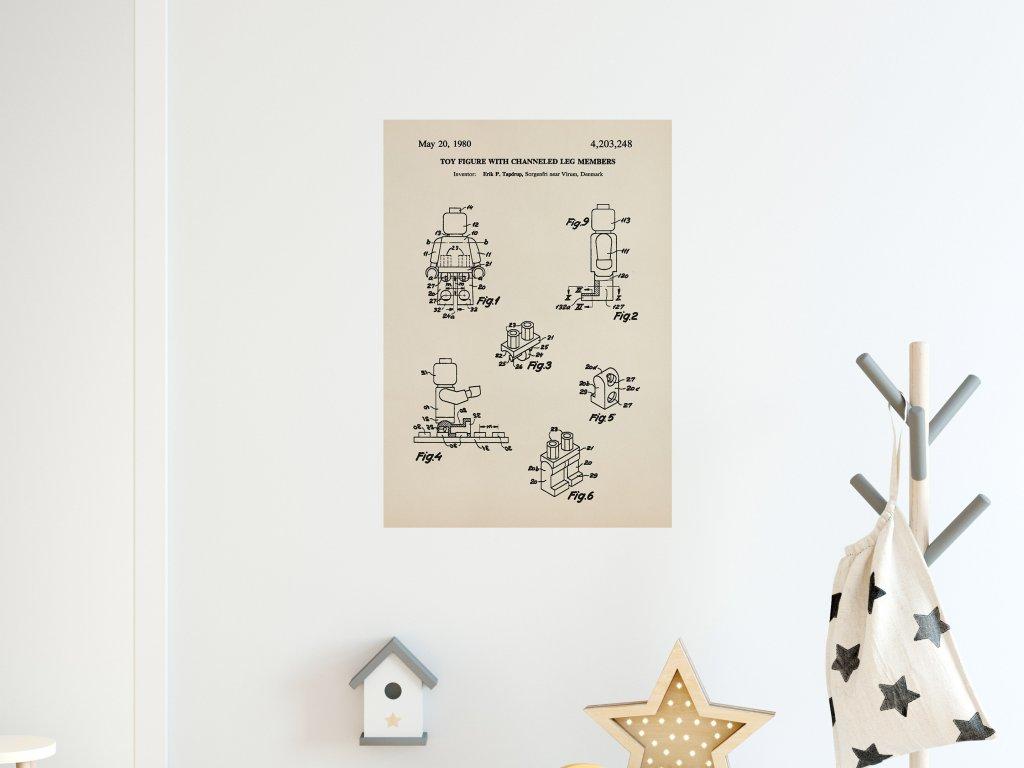 plakat lego panacek patent premistitelna samolepka na zed