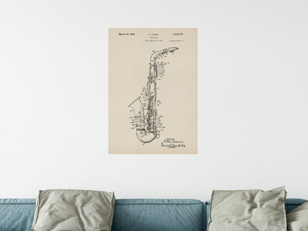 plakat saxofon patent samolepici dekorace
