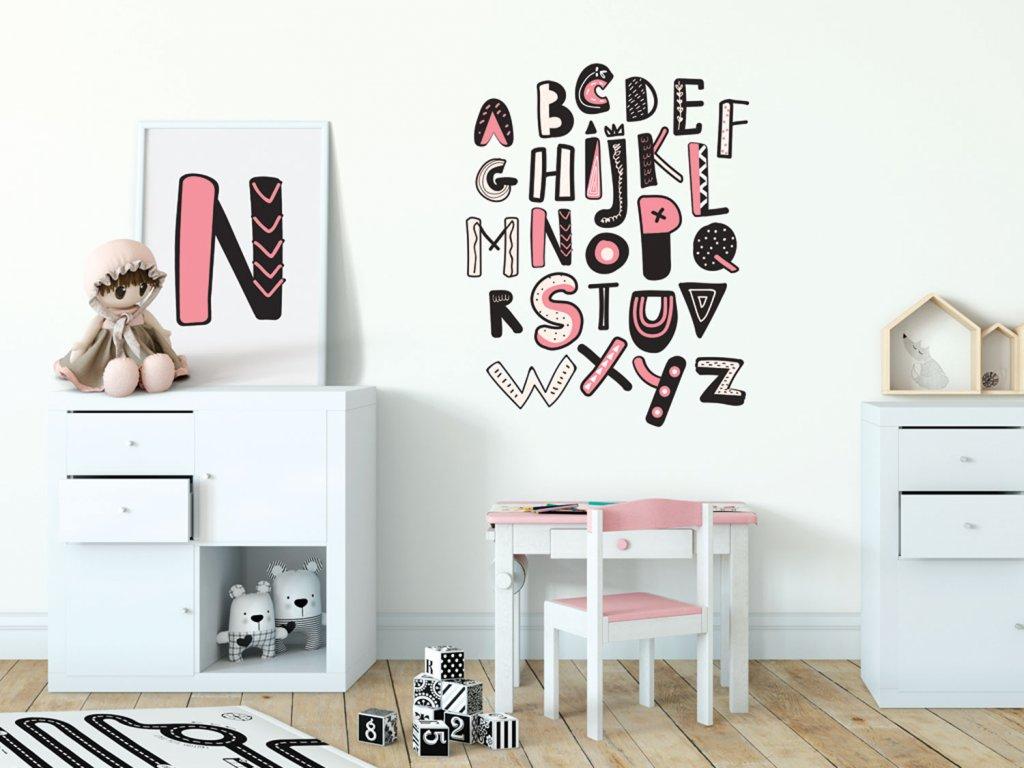 samolepky na zed prelepovac abeceda ruzova