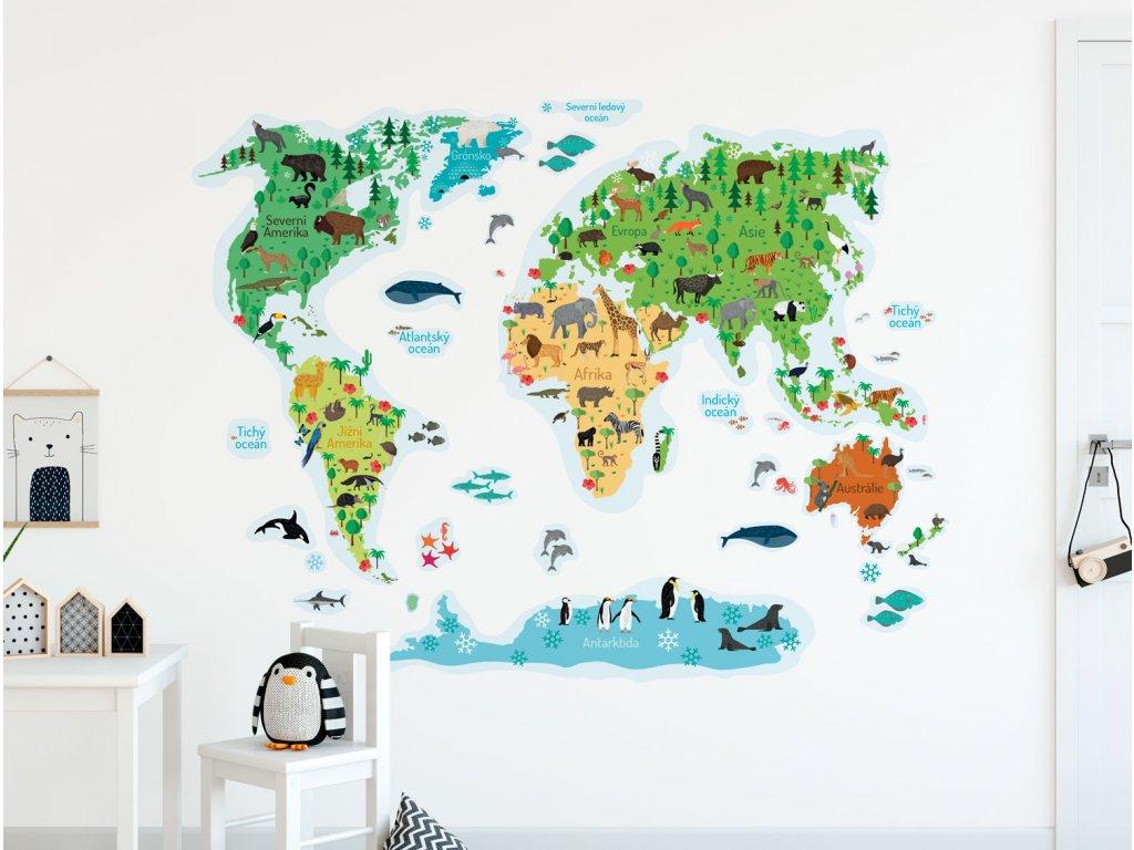 mapa sveta pro deti premistitelne samolepky na zed v detskem pokoji