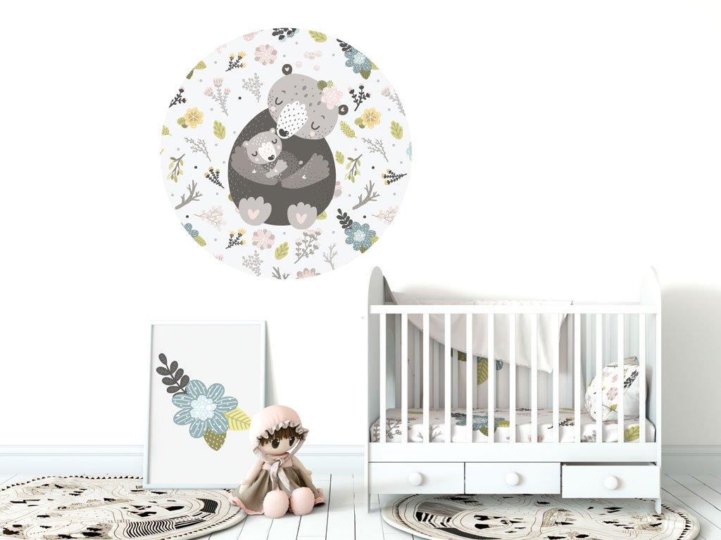 samolepka na zed kruh medvedi maminka s miminkem v detskem pokoji