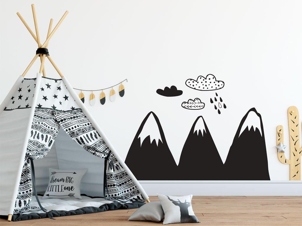 samolepky na zed scandi hory kreslene