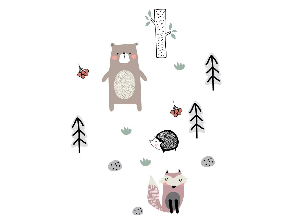 V lese 2 - přemístitelné samolepky