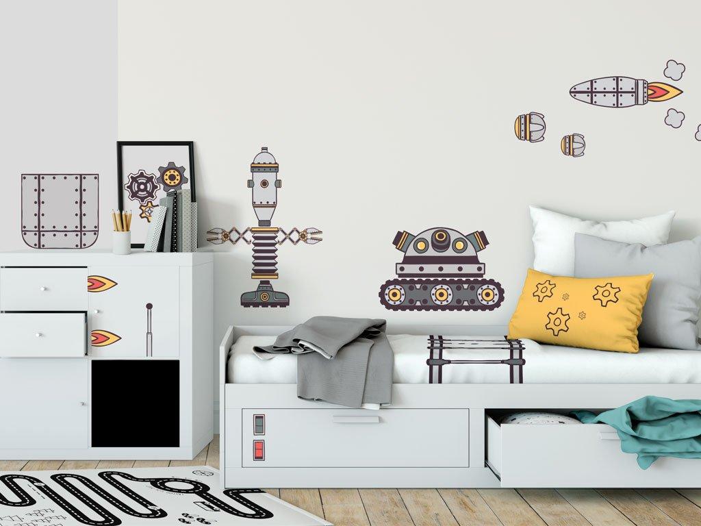 samolepky na zed roboti eko prelepovaci v detskem pokoji