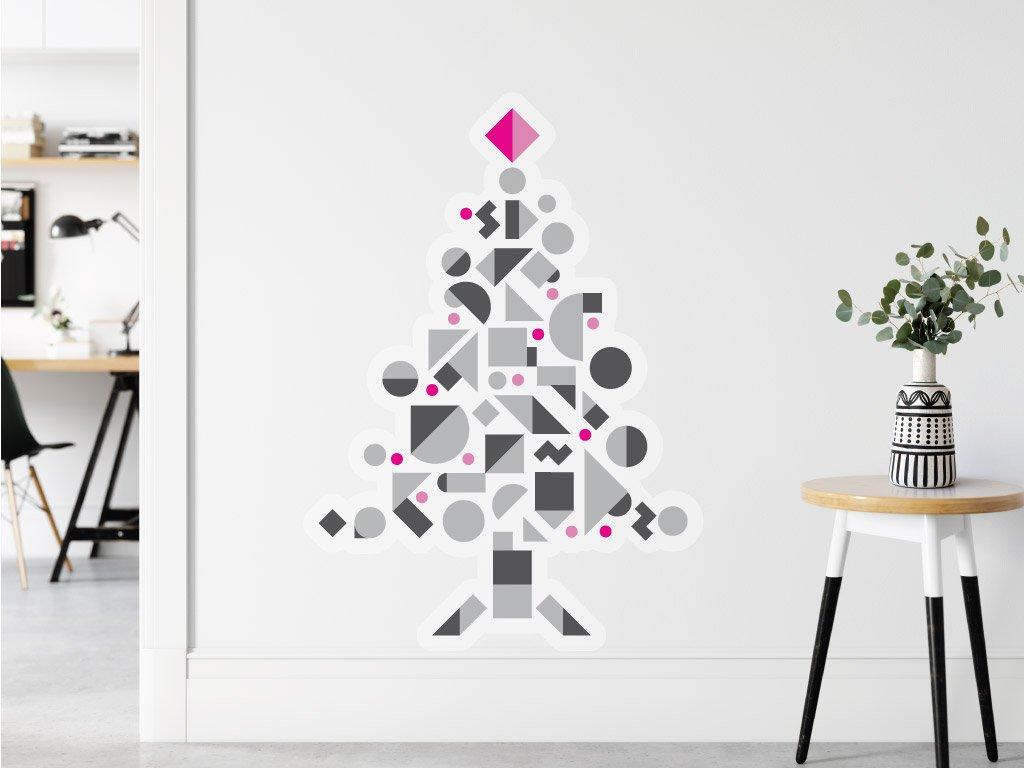 samolepici dekorace vanoce stromecek geometricky