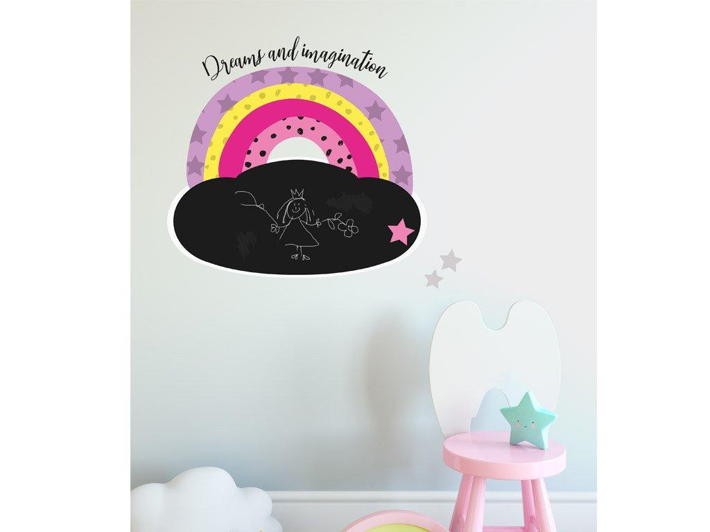 detska tabule nalepovaci cerna duha rainbow stars