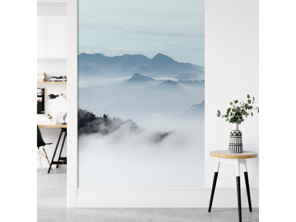 hory v mlze obrazova tapeta samolepici pruh plovouci hory modra viz