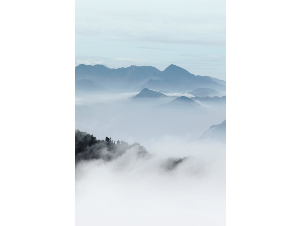 obrazova tapeta samolepici pruh plovouci hory modra