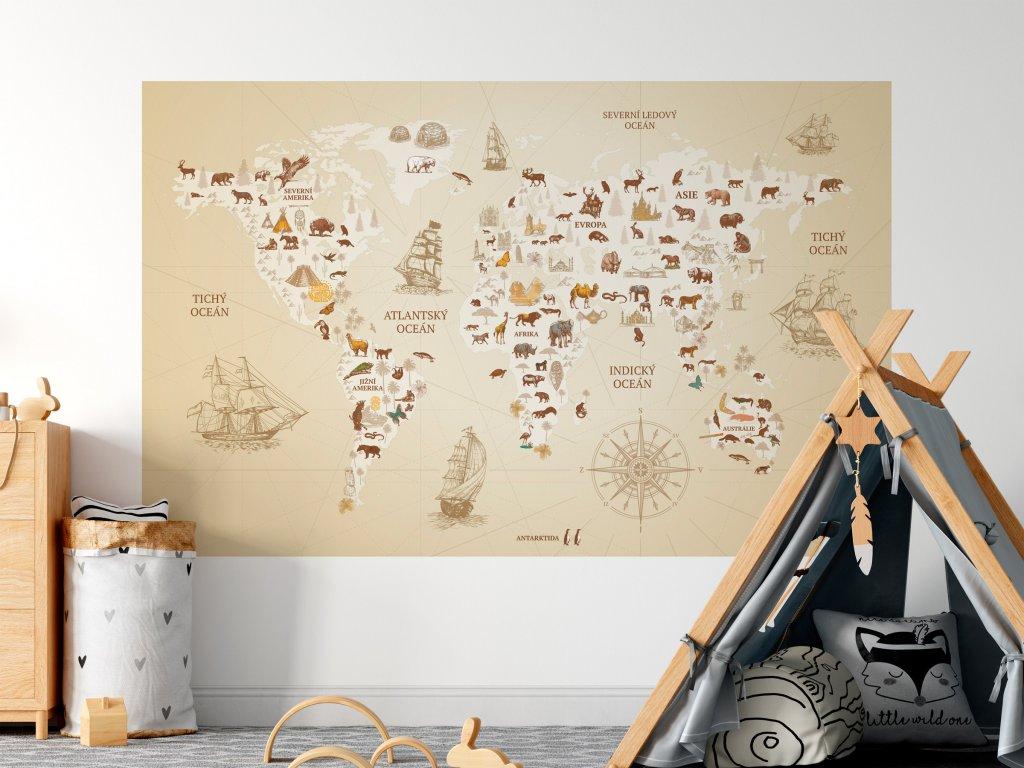 objevitelska mapa sveta vintage na zed BEZOVA SVETLEJSI