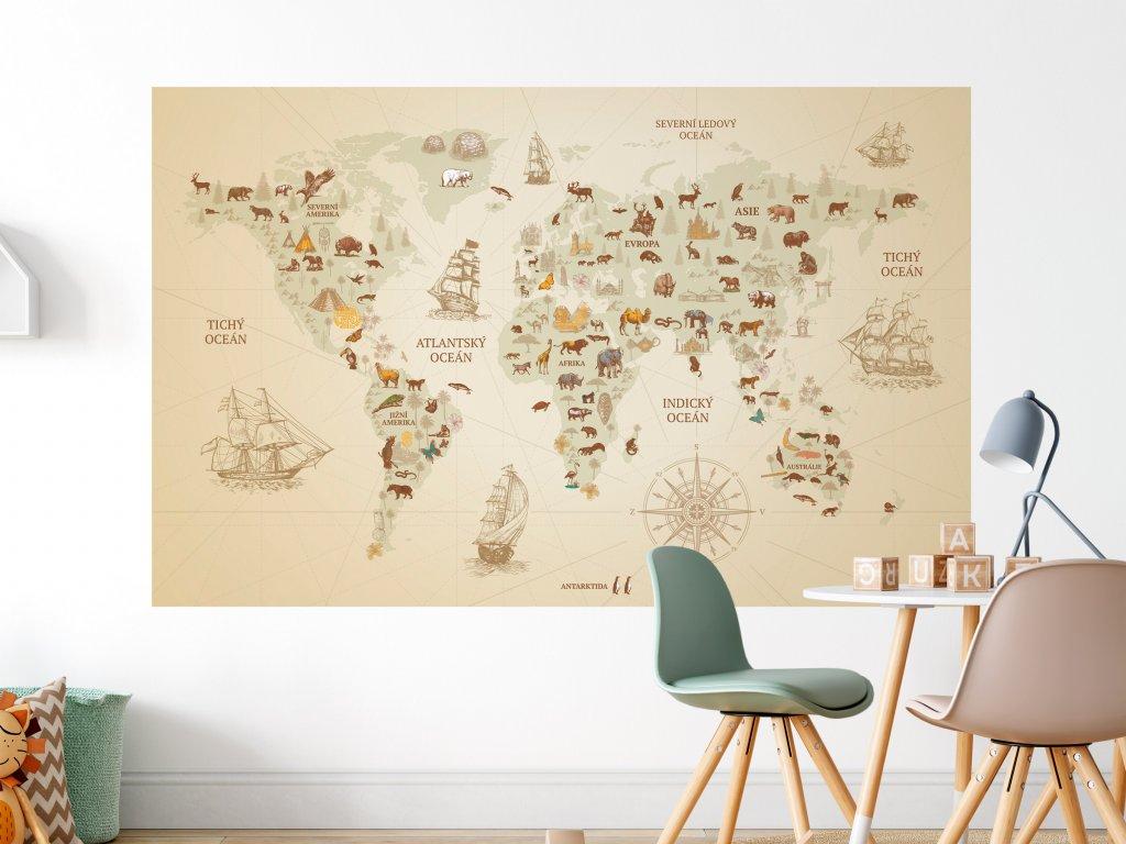 objevitelska mapa sveta vintage na zed bezova tmavsi