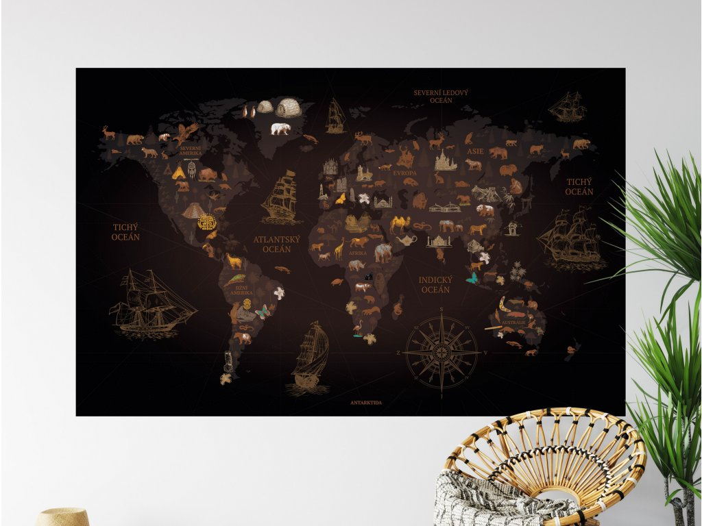 objevitelska mapa sveta na zed tmavajpg